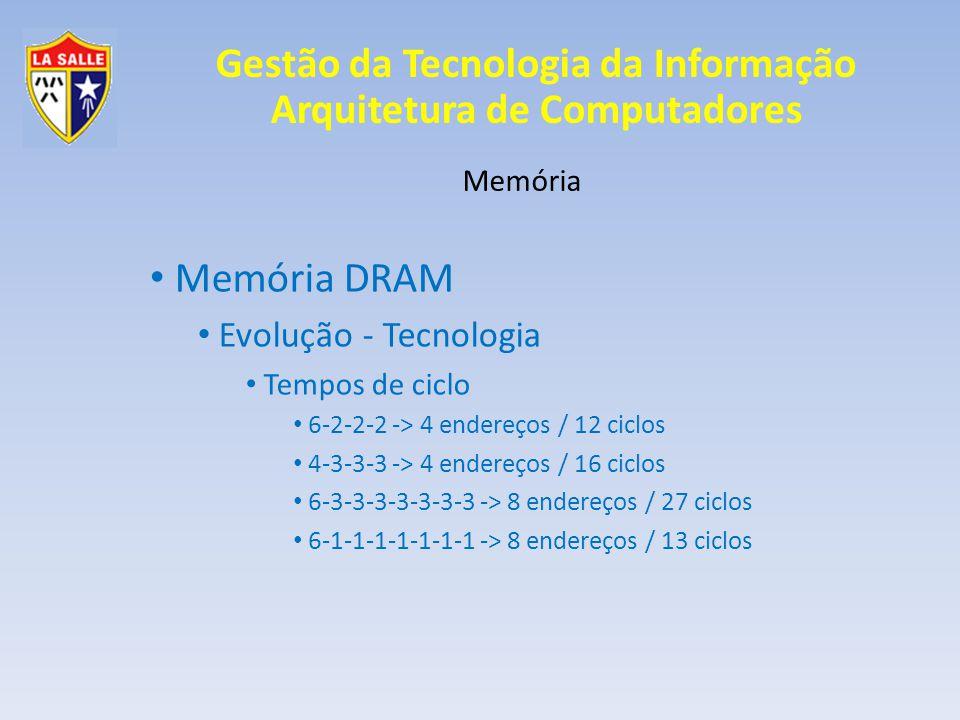 Gestão da Tecnologia da Informação Arquitetura de Computadores Memória Memória DRAM Evolução - Tecnologia Tempos de ciclo 6-2-2-2 -> 4 endereços / 12