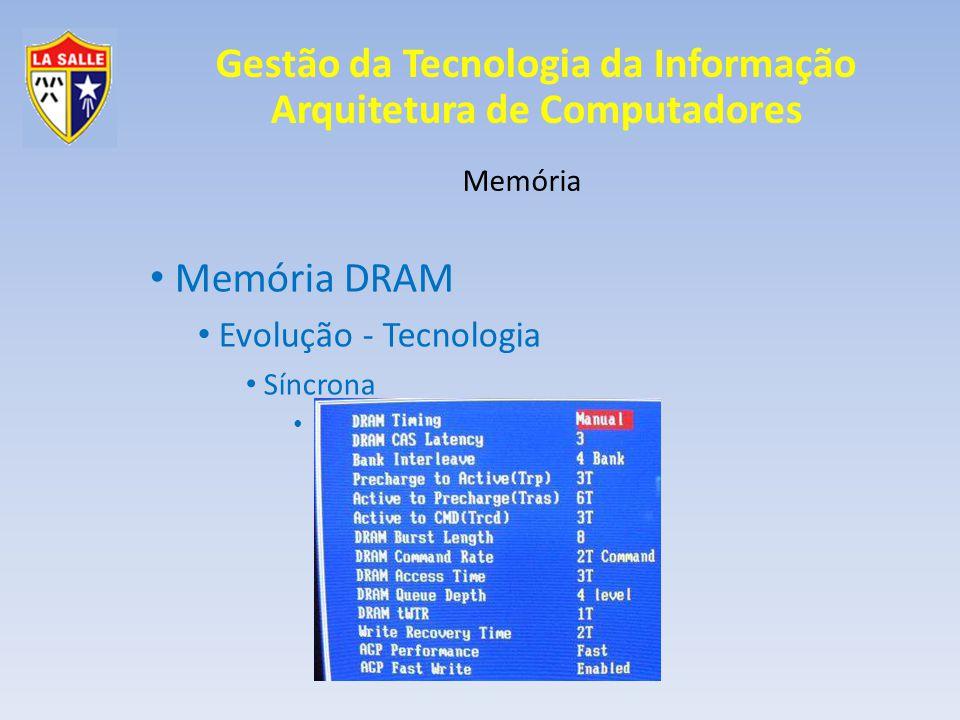 Gestão da Tecnologia da Informação Arquitetura de Computadores Memória Memória DRAM Evolução - Tecnologia Síncrona