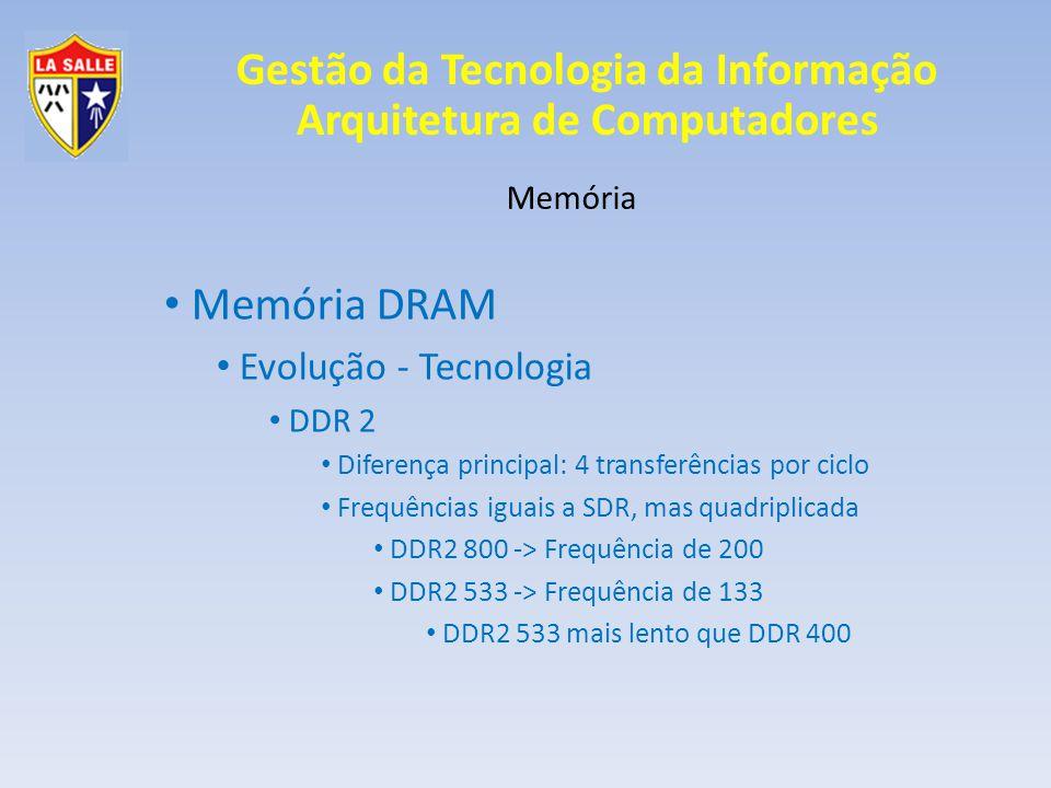 Gestão da Tecnologia da Informação Arquitetura de Computadores Memória Memória DRAM Evolução - Tecnologia DDR 2 Diferença principal: 4 transferências