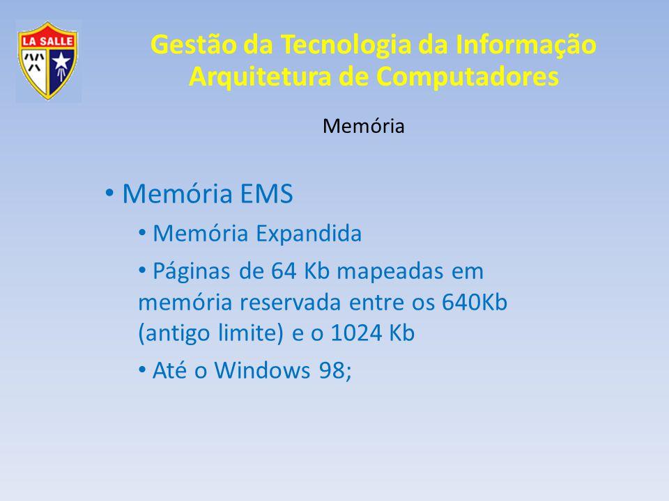 Gestão da Tecnologia da Informação Arquitetura de Computadores Memória Memória EMS Memória Expandida Páginas de 64 Kb mapeadas em memória reservada en