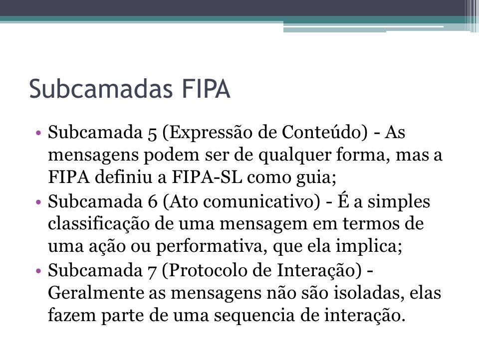 Subcamadas FIPA Subcamada 5 (Expressão de Conteúdo) - As mensagens podem ser de qualquer forma, mas a FIPA definiu a FIPA-SL como guia; Subcamada 6 (Ato comunicativo) - É a simples classificação de uma mensagem em termos de uma ação ou performativa, que ela implica; Subcamada 7 (Protocolo de Interação) - Geralmente as mensagens não são isoladas, elas fazem parte de uma sequencia de interação.