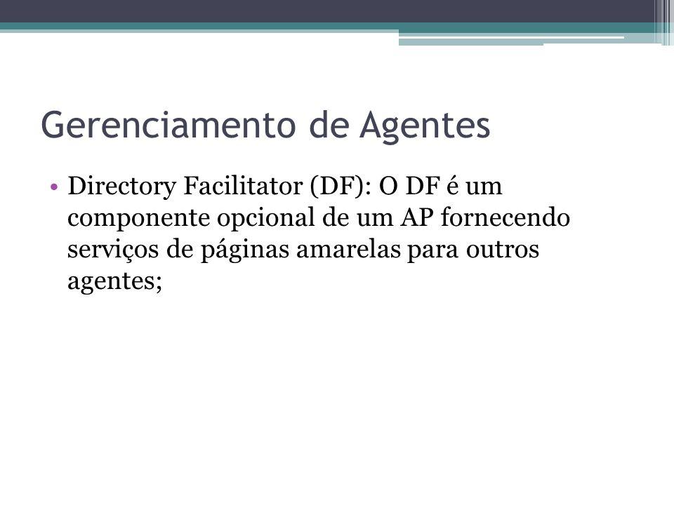Gerenciamento de Agentes Directory Facilitator (DF): O DF é um componente opcional de um AP fornecendo serviços de páginas amarelas para outros agentes;