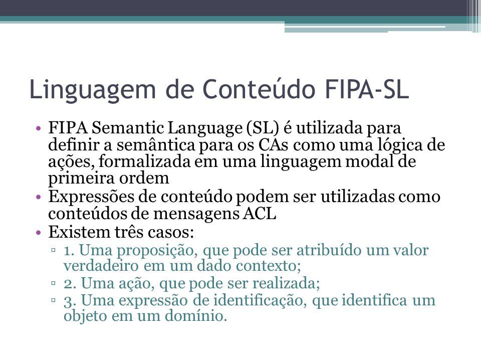 Linguagem de Conteúdo FIPA-SL FIPA Semantic Language (SL) é utilizada para definir a semântica para os CAs como uma lógica de ações, formalizada em uma linguagem modal de primeira ordem Expressões de conteúdo podem ser utilizadas como conteúdos de mensagens ACL Existem três casos: ▫1.