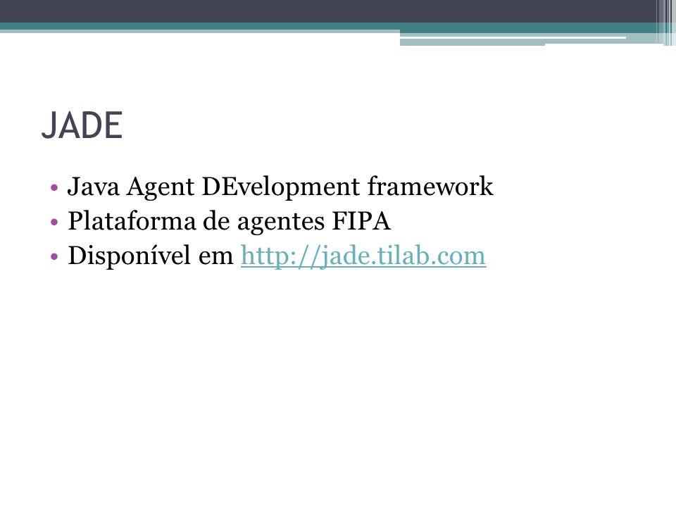 JADE Java Agent DEvelopment framework Plataforma de agentes FIPA Disponível em http://jade.tilab.comhttp://jade.tilab.com