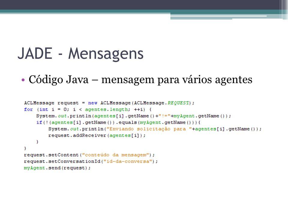 JADE - Mensagens Código Java – mensagem para vários agentes