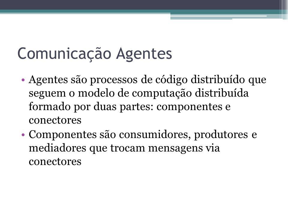 Comunicação Agentes Agentes são processos de código distribuído que seguem o modelo de computação distribuída formado por duas partes: componentes e conectores Componentes são consumidores, produtores e mediadores que trocam mensagens via conectores