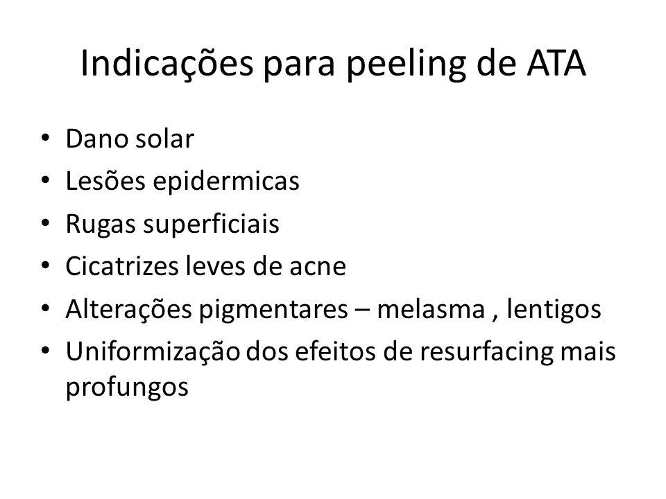 Indicações para peeling de ATA Dano solar Lesões epidermicas Rugas superficiais Cicatrizes leves de acne Alterações pigmentares – melasma, lentigos Uniformização dos efeitos de resurfacing mais profungos