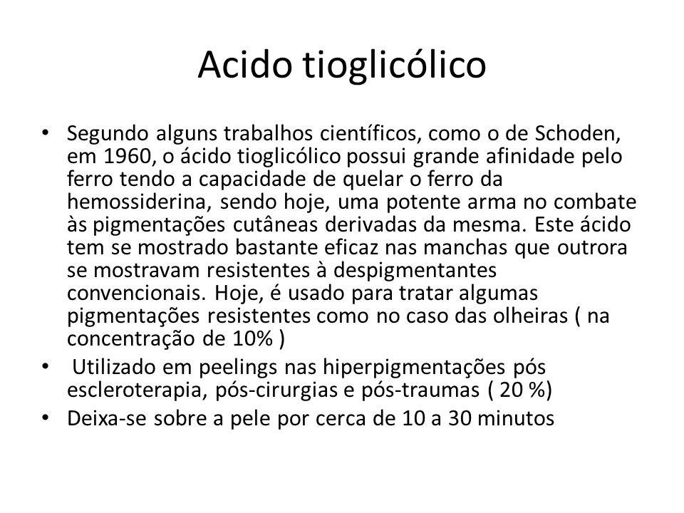 Acido tioglicólico Segundo alguns trabalhos científicos, como o de Schoden, em 1960, o ácido tioglicólico possui grande afinidade pelo ferro tendo a capacidade de quelar o ferro da hemossiderina, sendo hoje, uma potente arma no combate às pigmentações cutâneas derivadas da mesma.