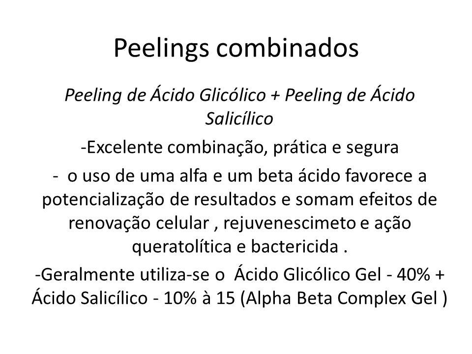 Peelings combinados Peeling de Ácido Glicólico + Peeling de Ácido Salicílico -Excelente combinação, prática e segura - o uso de uma alfa e um beta ácido favorece a potencialização de resultados e somam efeitos de renovação celular, rejuvenescimeto e ação queratolítica e bactericida.