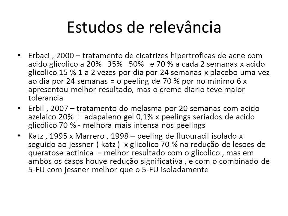 Estudos de relevância Erbaci, 2000 – tratamento de cicatrizes hipertroficas de acne com acido glicolico a 20% 35% 50% e 70 % a cada 2 semanas x acido glicolico 15 % 1 a 2 vezes por dia por 24 semanas x placebo uma vez ao dia por 24 semanas = o peeling de 70 % por no minimo 6 x apresentou melhor resultado, mas o creme diario teve maior tolerancia Erbil, 2007 – tratamento do melasma por 20 semanas com acido azelaico 20% + adapaleno gel 0,1% x peelings seriados de acido glicólico 70 % - melhora mais intensa nos peelings Katz, 1995 x Marrero, 1998 – peeling de fluouracil isolado x seguido ao jessner ( katz ) x glicolico 70 % na redução de lesoes de queratose actinica = melhor resultado com o glicolico, mas em ambos os casos houve redução significativa, e com o combinado de 5-FU com jessner melhor que o 5-FU isoladamente