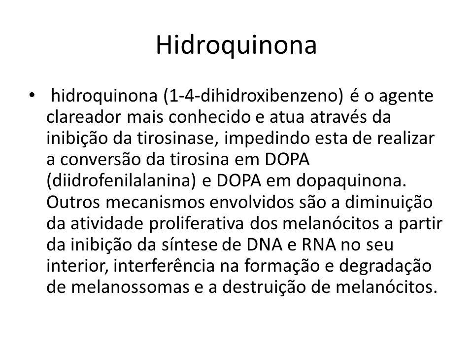 Hidroquinona hidroquinona (1-4-dihidroxibenzeno) é o agente clareador mais conhecido e atua através da inibição da tirosinase, impedindo esta de realizar a conversão da tirosina em DOPA (diidrofenilalanina) e DOPA em dopaquinona.
