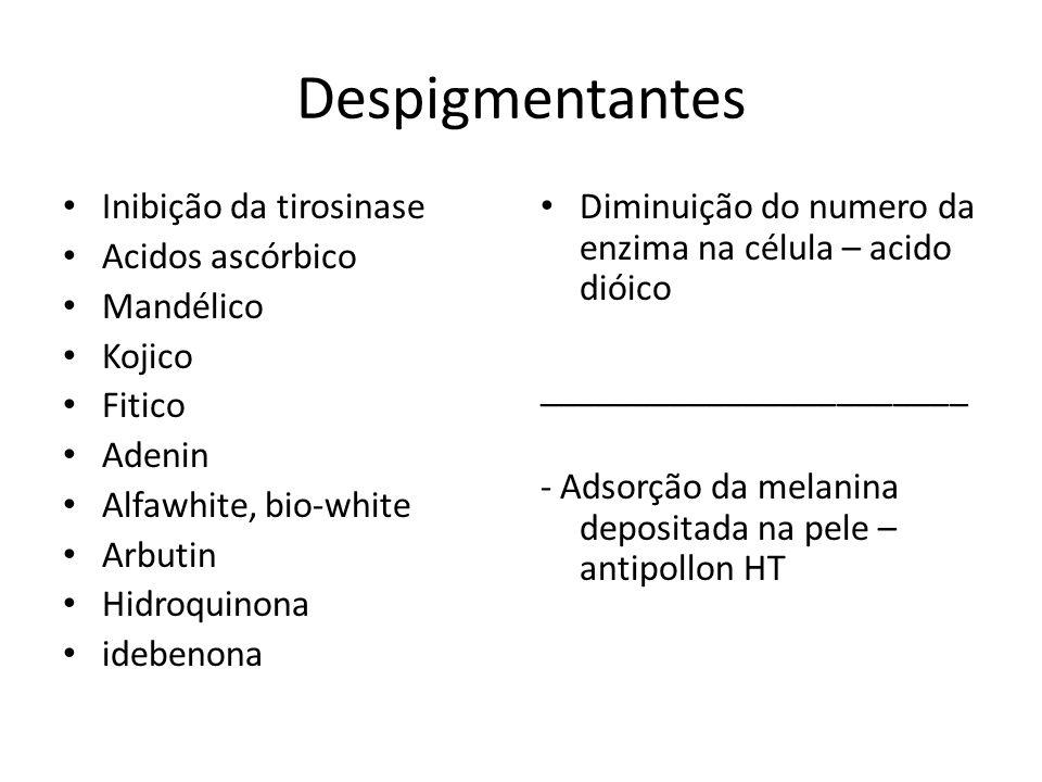Despigmentantes Inibição da tirosinase Acidos ascórbico Mandélico Kojico Fitico Adenin Alfawhite, bio-white Arbutin Hidroquinona idebenona Diminuição do numero da enzima na célula – acido dióico _______________________ - Adsorção da melanina depositada na pele – antipollon HT