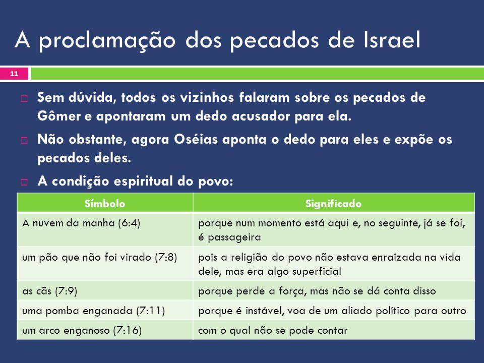 A proclamação dos pecados de Israel  Sem dúvida, todos os vizinhos falaram sobre os pecados de Gômer e apontaram um dedo acusador para ela.