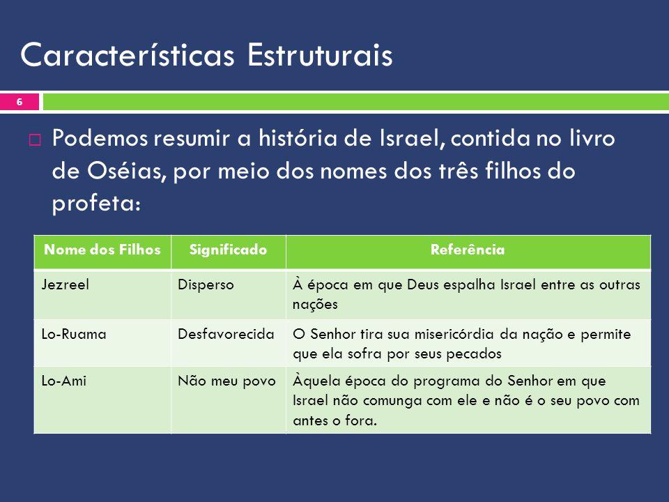 Características Estruturais  Estrutura dos capítulos do livro: 7 TemaCapítulos A imagem da infidelidade de Israel1 a 3 A proclamação dos pecados de Israel4 a 7 A proclamação do julgamento8 a10 A promessa de restauração de Israel11 a 14