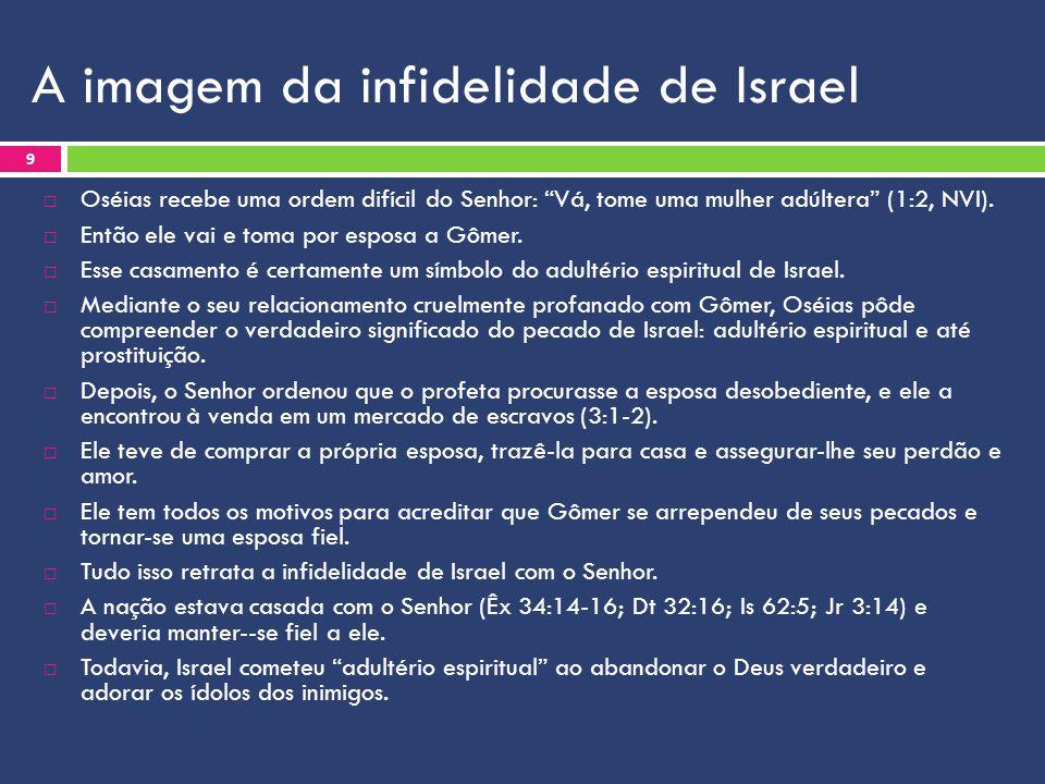 A imagem da infidelidade de Israel  Oséias recebe uma ordem difícil do Senhor: Vá, tome uma mulher adúltera (1:2, NVI).