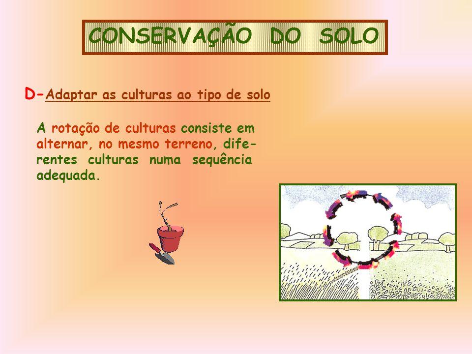 CONSERVAÇÃO DO SOLO A rotação de culturas consiste em alternar, no mesmo terreno, dife- rentes culturas numa sequência adequada.