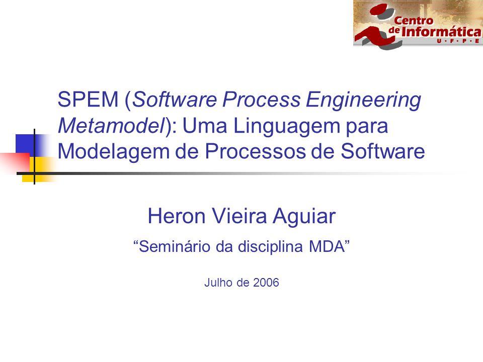 Roteiro Processo de Software Visão geral de Modelagem Visão geral de SPEM Processo definido usando SPEM Ferramentas CASE Limitações de SPEM