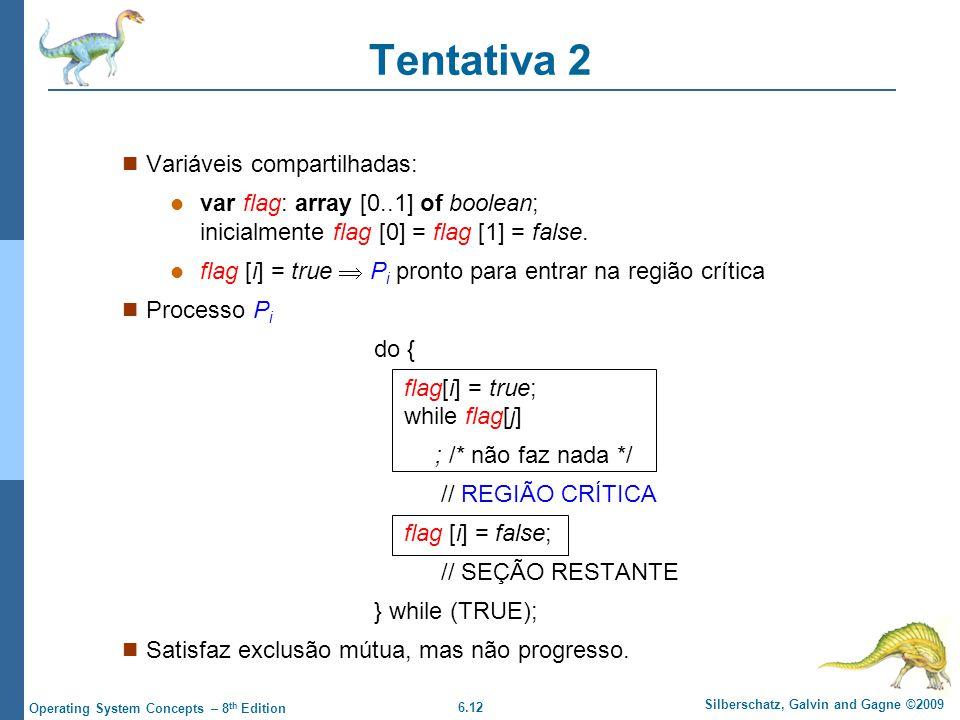 6.12 Silberschatz, Galvin and Gagne ©2009 Operating System Concepts – 8 th Edition Tentativa 2 Variáveis compartilhadas: var flag: array [0..1] of boolean; inicialmente flag [0] = flag [1] = false.