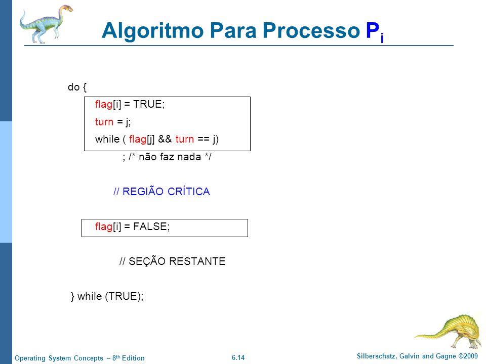 6.14 Silberschatz, Galvin and Gagne ©2009 Operating System Concepts – 8 th Edition do { flag[i] = TRUE; turn = j; while ( flag[j] && turn == j) ; /* não faz nada */ // REGIÃO CRÍTICA flag[i] = FALSE; // SEÇÃO RESTANTE } while (TRUE); Algoritmo Para Processo P i