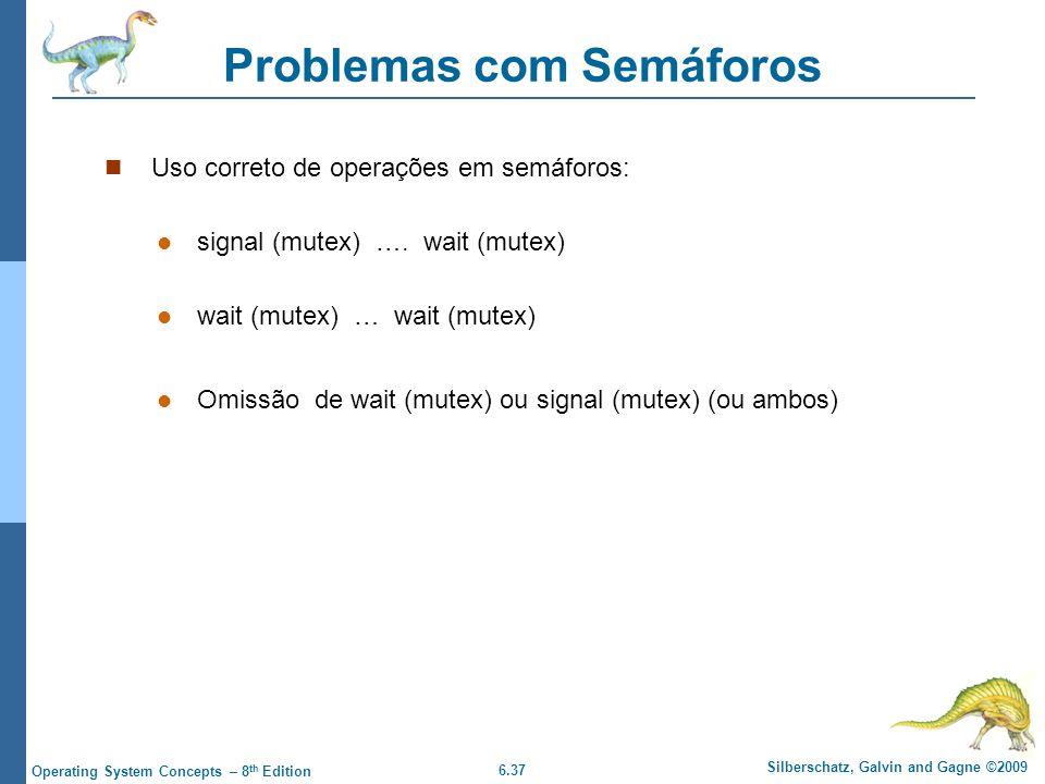6.37 Silberschatz, Galvin and Gagne ©2009 Operating System Concepts – 8 th Edition Problemas com Semáforos Uso correto de operações em semáforos: signal (mutex) ….