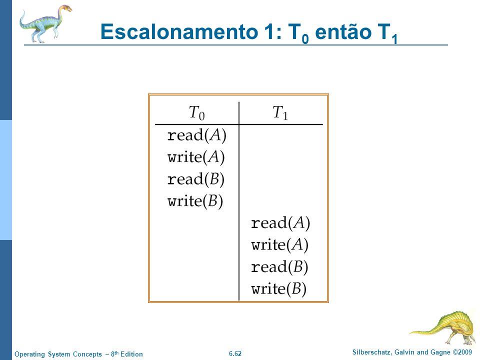 6.62 Silberschatz, Galvin and Gagne ©2009 Operating System Concepts – 8 th Edition Escalonamento 1: T 0 então T 1