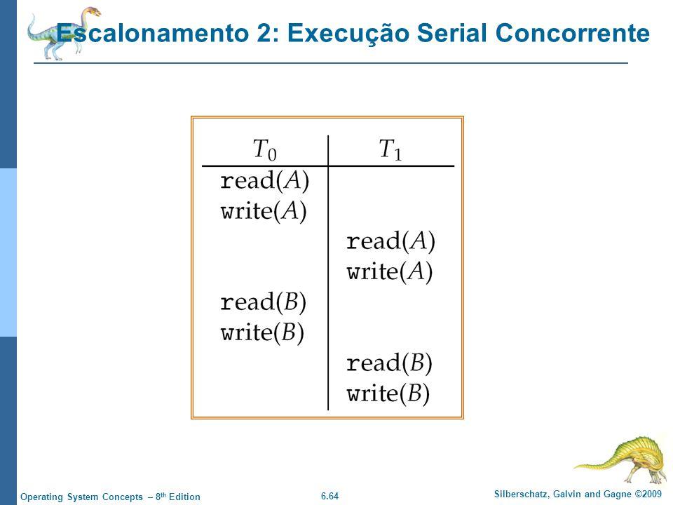 6.64 Silberschatz, Galvin and Gagne ©2009 Operating System Concepts – 8 th Edition Escalonamento 2: Execução Serial Concorrente