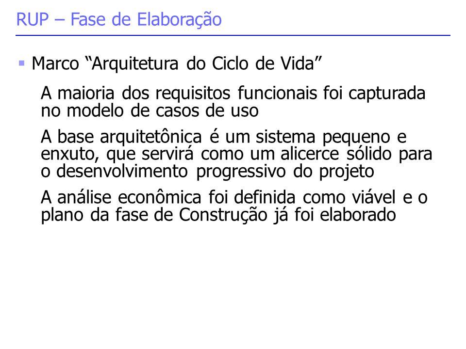 """ Marco """"Arquitetura do Ciclo de Vida"""" A maioria dos requisitos funcionais foi capturada no modelo de casos de uso A base arquitetônica é um sistema p"""