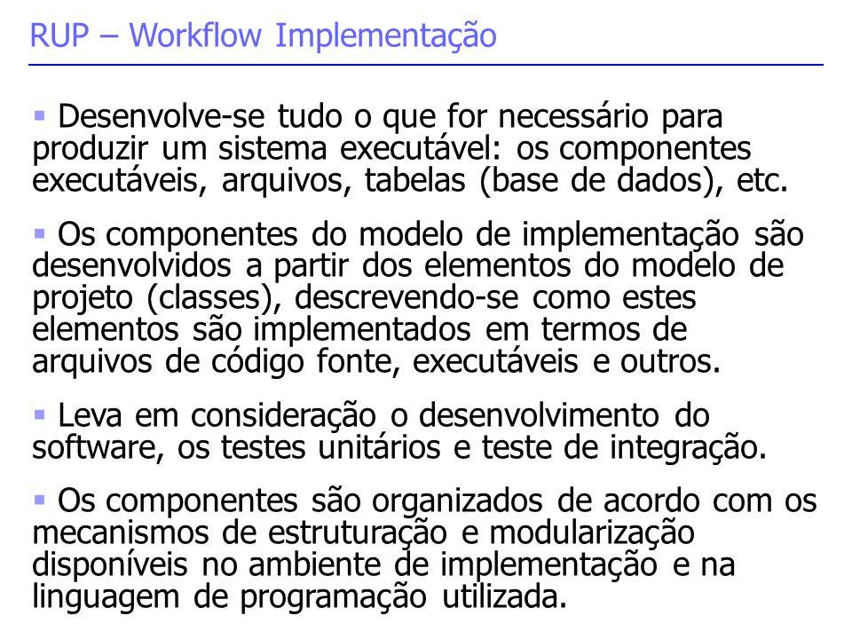  Desenvolve-se tudo o que for necessário para produzir um sistema executável: os componentes executáveis, arquivos, tabelas (base de dados), etc.  O