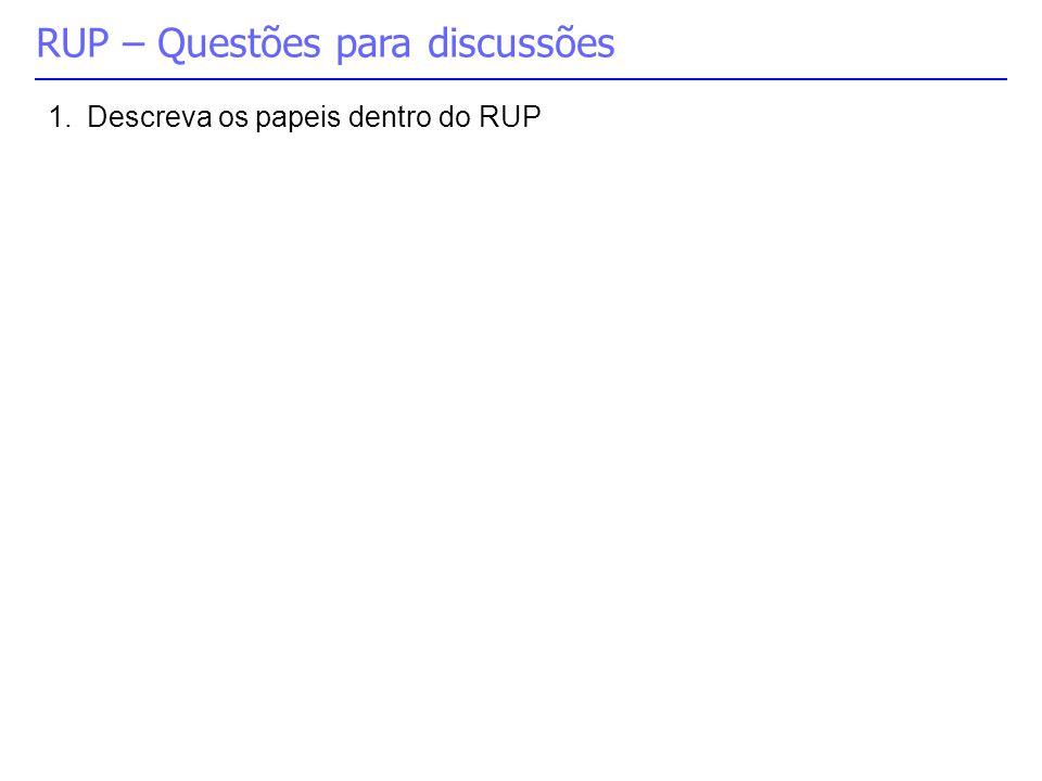 RUP – Questões para discussões 1.Descreva os papeis dentro do RUP