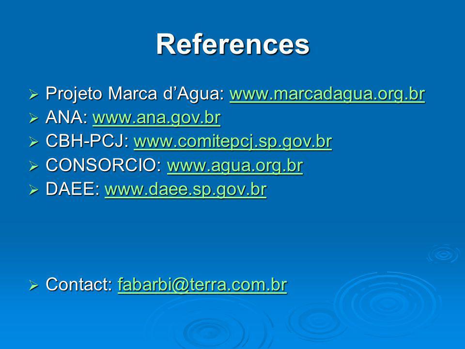 References  Projeto Marca d'Agua: www.marcadagua.org.br www.marcadagua.org.br  ANA: www.ana.gov.br www.ana.gov.br  CBH-PCJ: www.comitepcj.sp.gov.br www.comitepcj.sp.gov.br  CONSORCIO: www.agua.org.br www.agua.org.br  DAEE: www.daee.sp.gov.br www.daee.sp.gov.br  Contact: fabarbi@terra.com.br fabarbi@terra.com.br
