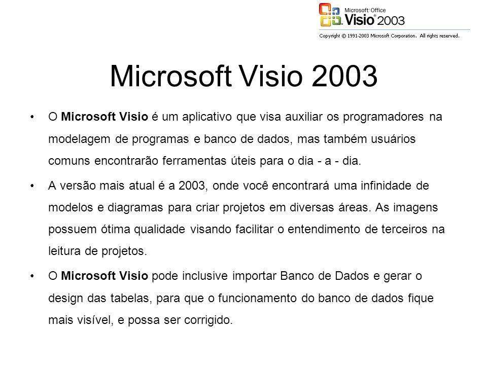 Microsoft Visio 2003 O Microsoft Visio é um aplicativo que visa auxiliar os programadores na modelagem de programas e banco de dados, mas também usuários comuns encontrarão ferramentas úteis para o dia - a - dia.