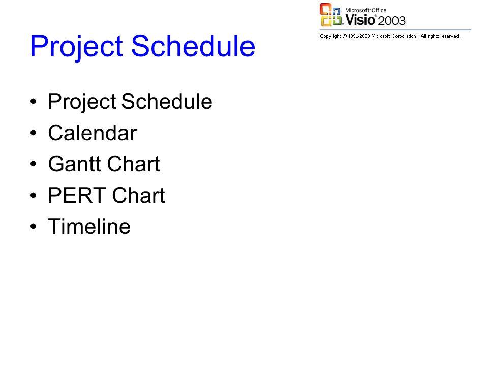Project Schedule Calendar Gantt Chart PERT Chart Timeline