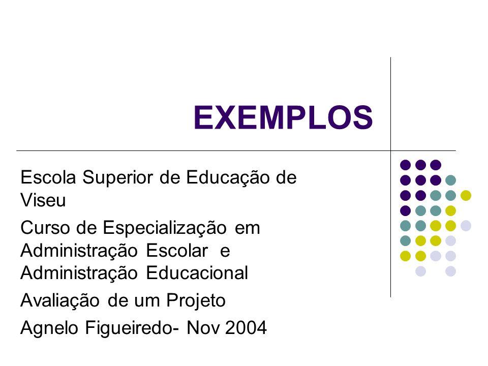 EXEMPLOS Escola Superior de Educação de Viseu Curso de Especialização em Administração Escolar e Administração Educacional Avaliação de um Projeto Agnelo Figueiredo- Nov 2004