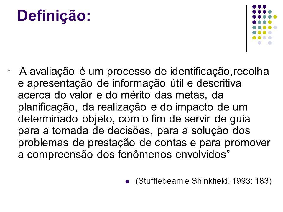 Definição: A avaliação é um processo de identificação,recolha e apresentação de informação útil e descritiva acerca do valor e do mérito das metas, da planificação, da realização e do impacto de um determinado objeto, com o fim de servir de guia para a tomada de decisões, para a solução dos problemas de prestação de contas e para promover a compreensão dos fenômenos envolvidos (Stufflebeam e Shinkfield, 1993: 183)