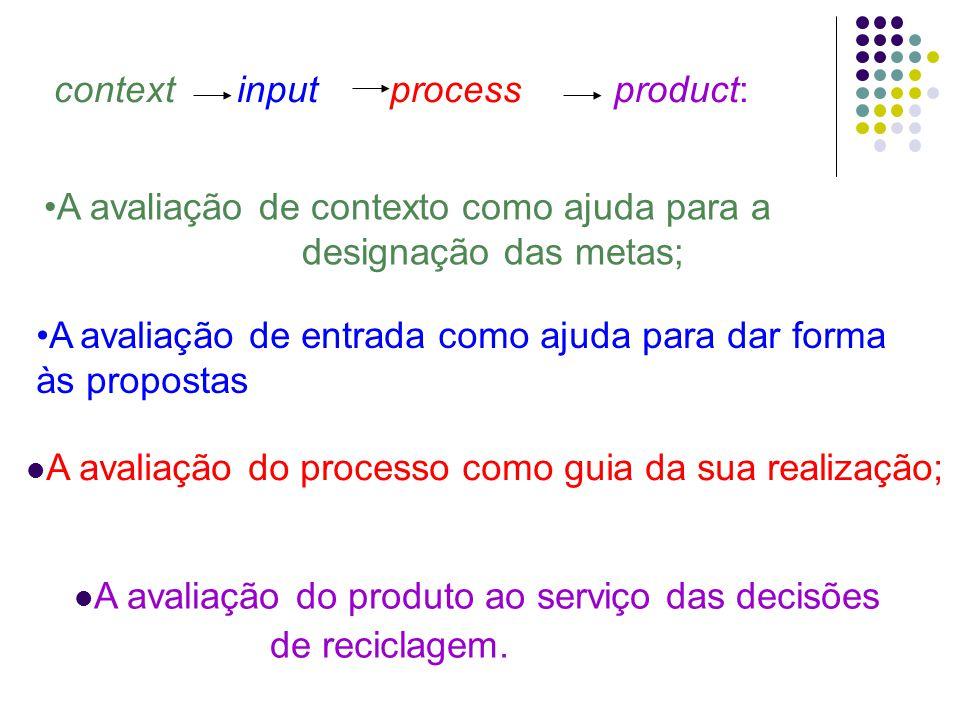 context input process product: A avaliação de contexto como ajuda para a designação das metas; A avaliação de entrada como ajuda para dar forma às propostas A avaliação do processo como guia da sua realização; A avaliação do produto ao serviço das decisões de reciclagem.