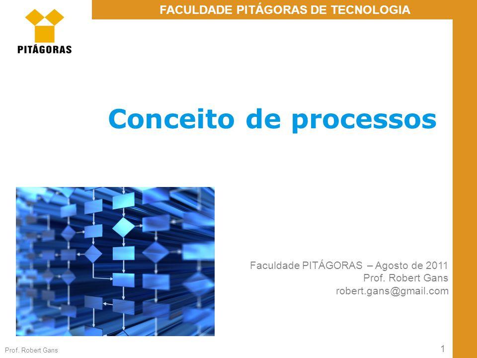 1 Prof. Robert Gans FACULDADE PITÁGORAS DE TECNOLOGIA Conceito de processos Faculdade PITÁGORAS – Agosto de 2011 Prof. Robert Gans robert.gans@gmail.c