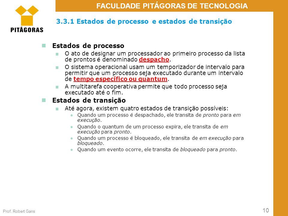 10 Prof. Robert Gans FACULDADE PITÁGORAS DE TECNOLOGIA 3.3.1 Estados de processo e estados de transição Estados de processo ■ O ato de designar um pro