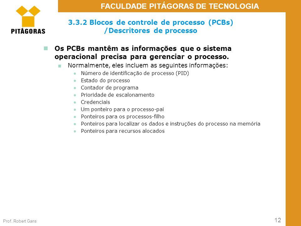 12 Prof. Robert Gans FACULDADE PITÁGORAS DE TECNOLOGIA 3.3.2 Blocos de controle de processo (PCBs) /Descritores de processo Os PCBs mantêm as informaç
