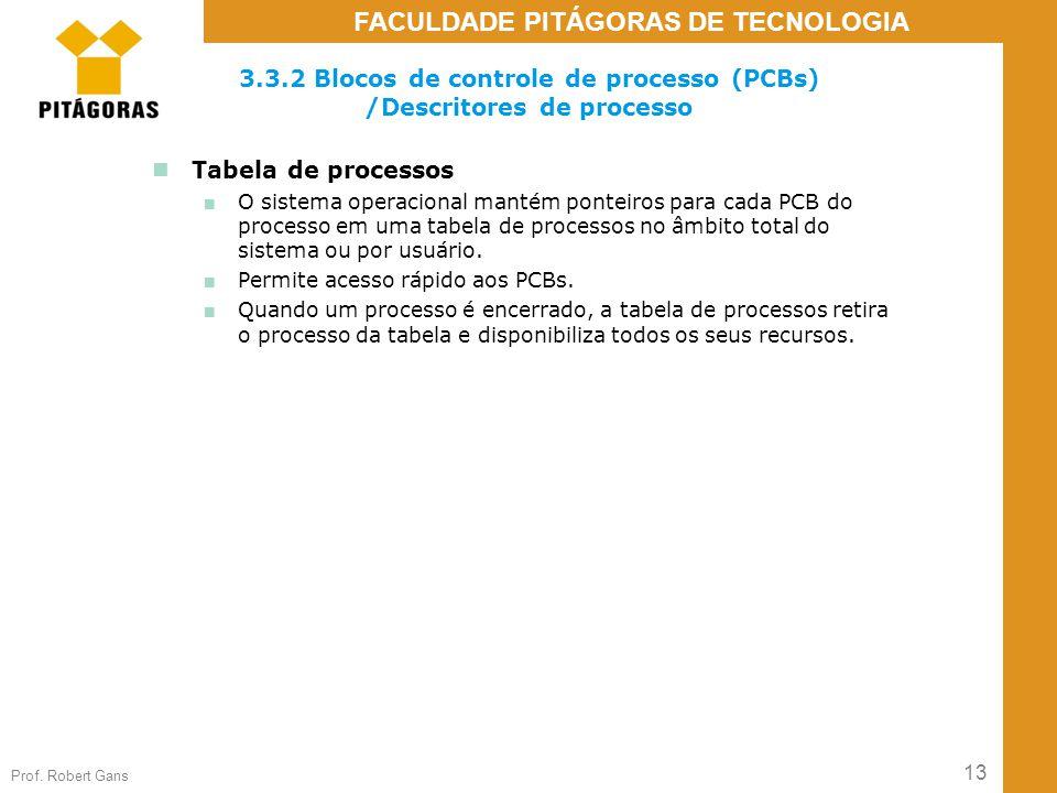 13 Prof. Robert Gans FACULDADE PITÁGORAS DE TECNOLOGIA 3.3.2 Blocos de controle de processo (PCBs) /Descritores de processo Tabela de processos ■ O si