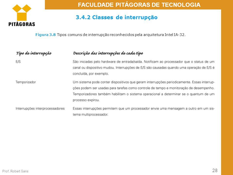 28 Prof. Robert Gans FACULDADE PITÁGORAS DE TECNOLOGIA Figura 3.8 Tipos comuns de interrupção reconhecidos pela arquitetura Intel IA-32. 3.4.2 Classes