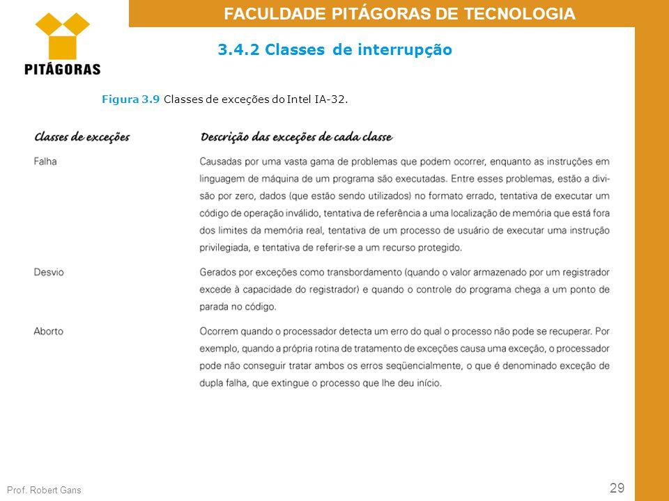 29 Prof. Robert Gans FACULDADE PITÁGORAS DE TECNOLOGIA Figura 3.9 Classes de exceções do Intel IA-32. 3.4.2 Classes de interrupção