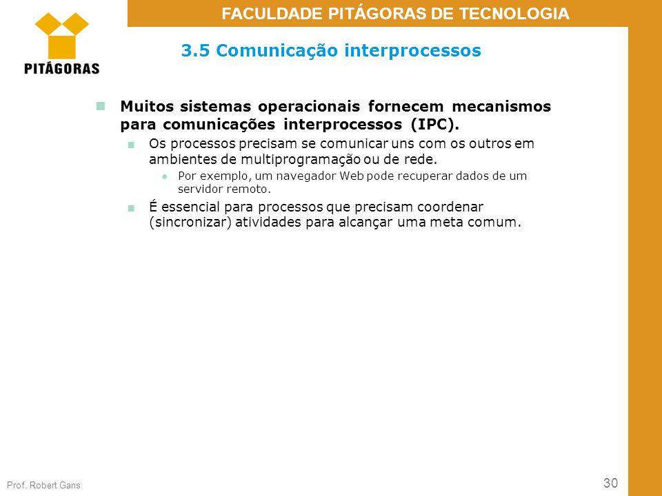 30 Prof. Robert Gans FACULDADE PITÁGORAS DE TECNOLOGIA 3.5 Comunicação interprocessos Muitos sistemas operacionais fornecem mecanismos para comunicaçõ