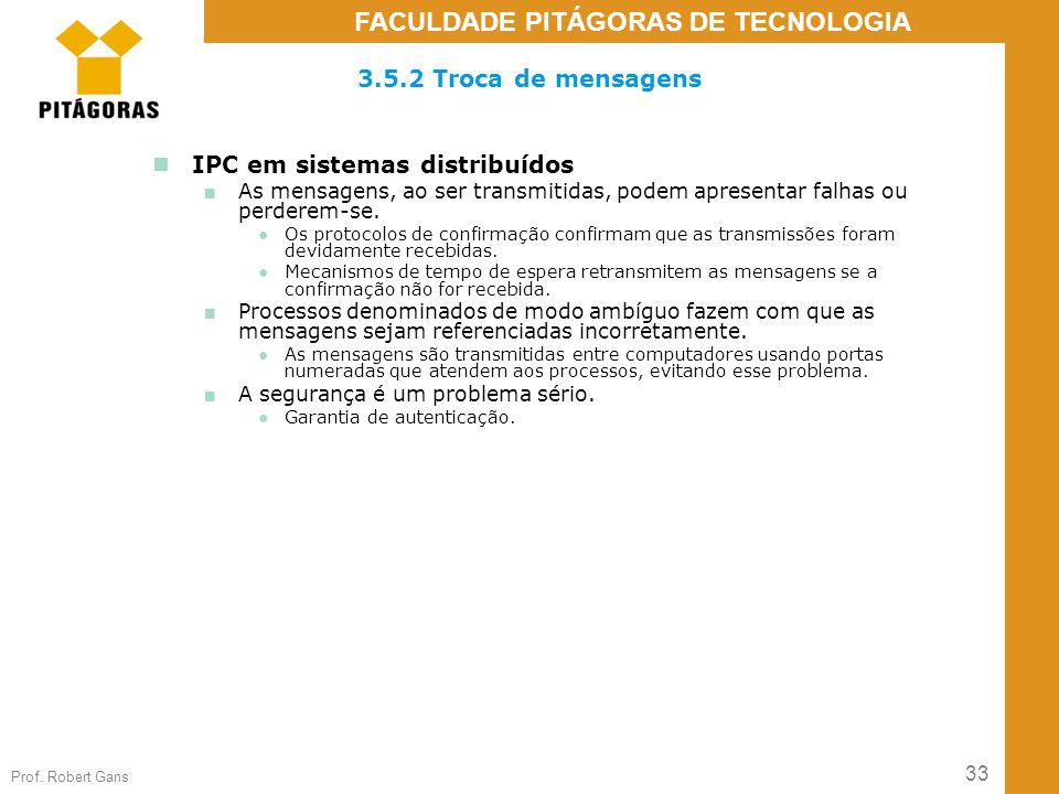 33 Prof. Robert Gans FACULDADE PITÁGORAS DE TECNOLOGIA 3.5.2 Troca de mensagens IPC em sistemas distribuídos ■ As mensagens, ao ser transmitidas, pode