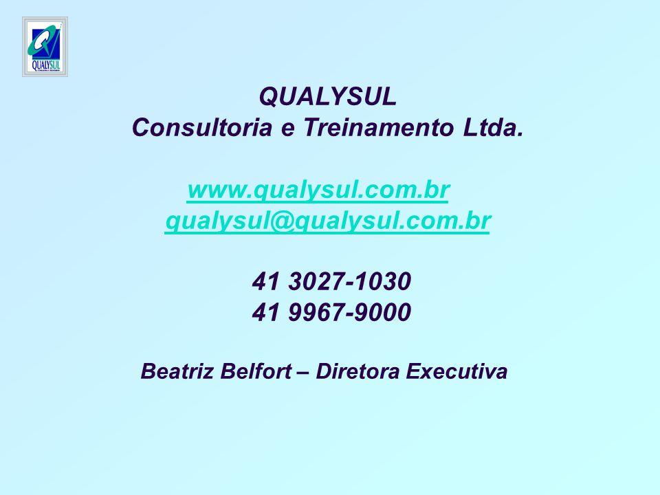 QUALYSUL Consultoria e Treinamento Ltda. www.qualysul.com.br qualysul@qualysul.com.br 41 3027-1030 41 9967-9000 Beatriz Belfort – Diretora Executiva