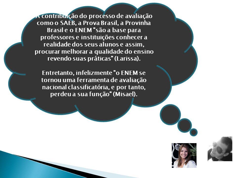 A contribuição do processo de avaliação como o SAEB, a Prova Brasil, a Provinha Brasil e o ENEM
