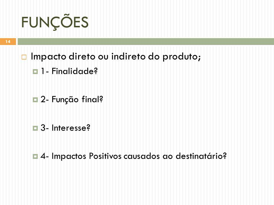 FUNÇÕES  Impacto direto ou indireto do produto;  1- Finalidade.