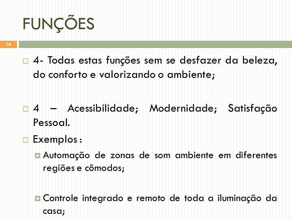 FUNÇÕES  4- Todas estas funções sem se desfazer da beleza, do conforto e valorizando o ambiente;  4 – Acessibilidade; Modernidade; Satisfação Pessoal.