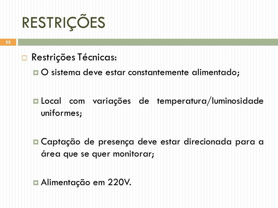 RESTRIÇÕES  Restrições Técnicas:  O sistema deve estar constantemente alimentado;  Local com variações de temperatura/luminosidade uniformes;  Captação de presença deve estar direcionada para a área que se quer monitorar;  Alimentação em 220V.