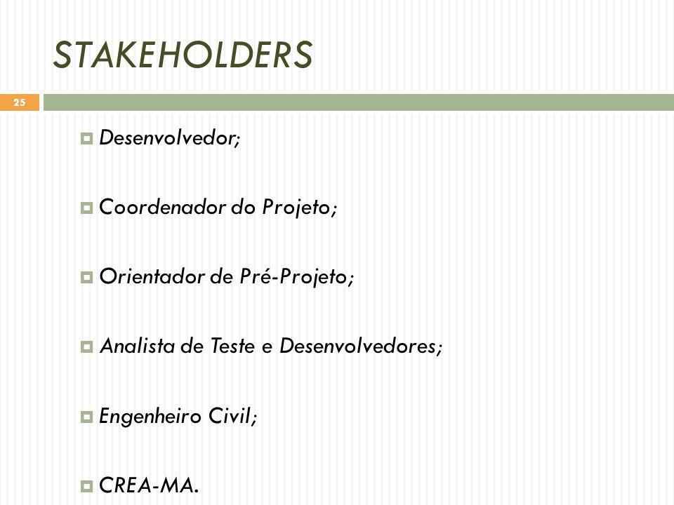 STAKEHOLDERS  Desenvolvedor;  Coordenador do Projeto;  Orientador de Pré-Projeto;  Analista de Teste e Desenvolvedores;  Engenheiro Civil;  CREA-MA.