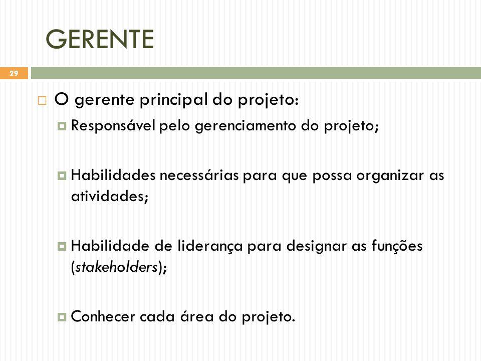 GERENTE  O gerente principal do projeto:  Responsável pelo gerenciamento do projeto;  Habilidades necessárias para que possa organizar as atividades;  Habilidade de liderança para designar as funções (stakeholders);  Conhecer cada área do projeto.